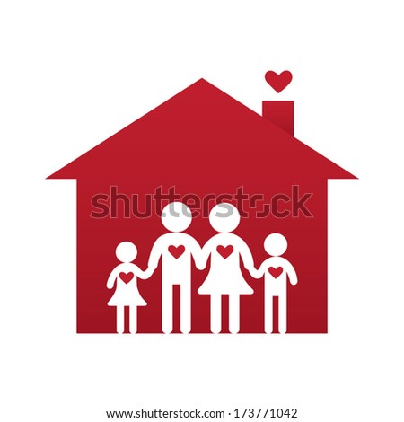 Family at home - stock vector