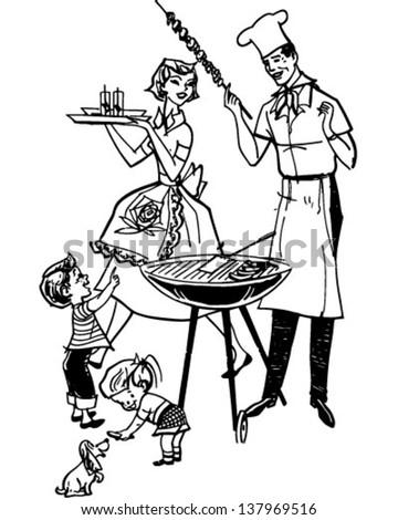 Black White Vector Illustration Family Dinner Stock