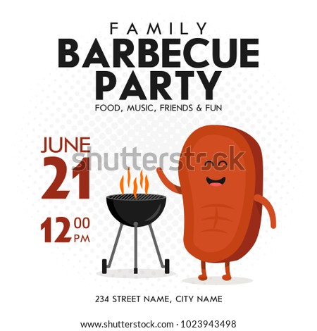 Family Bbq Party Invitation Template Cute Stock Vector