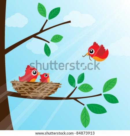 Family bird feeding - stock vector