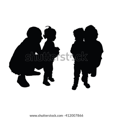 family black silhouette with baby on white - stock vector