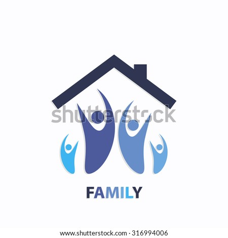 Family blue color icon with roof or home over white background art - stock vector