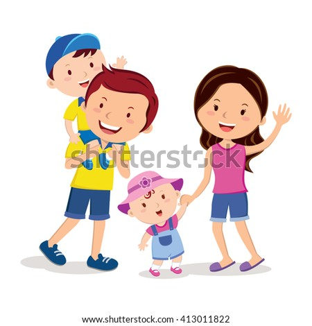 Family bonding time. Happy family gesturing with cheerful smile. - stock vector