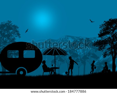 Family camping on beautiful campsite at blue night, vector illustration - stock vector