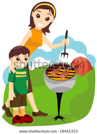 Family Camping Vector Stock 18465352