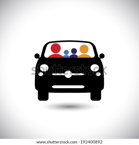 family & car icon: father, mother, son & baby girl on travel & tour - concept vector. This graphic also represents concept like family trip, driver and passengers - stock vector