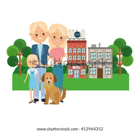 Family cartoon concept represented by parents with daughter icon over city landscape.  Colorfull illustration - stock vector