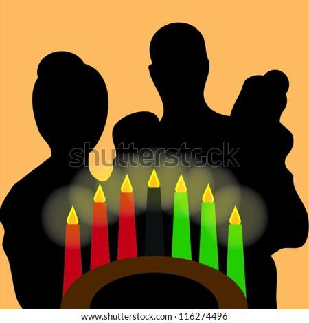 Family celebrating kwanzaa - stock vector