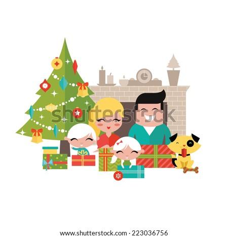 Family christmas - stock vector