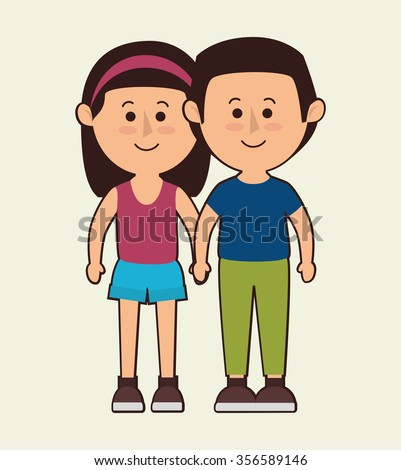 Family colorful cartoon graphic design, vector illustration