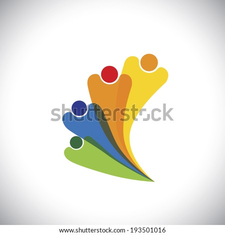 family concept vector - bonding of family members by love. This colorful graphic can also represent icons of father, mother and children being together, happy, cheerful & supporting each other - stock vector