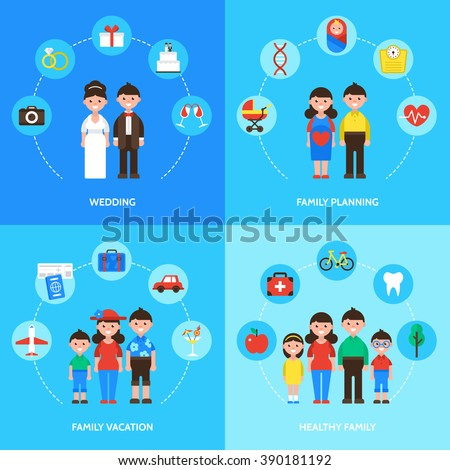 Family concept, wedding, family planning, family vacation and healthy family. Isolated vector illustration - stock vector