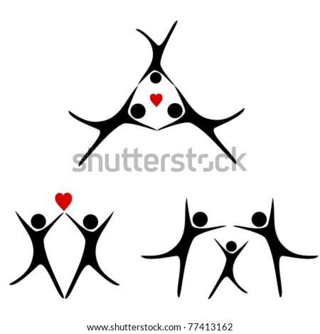 Family concepts - silhouettes of people. Vector illustration - stock vector
