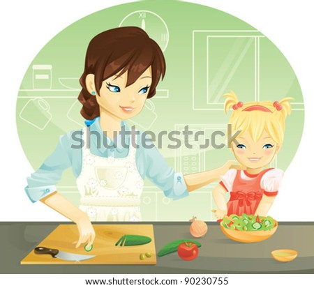 Family cooking - stock vector