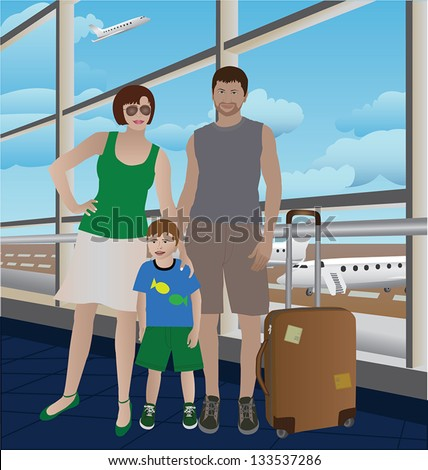 Family couple with a child waiting for flight departure in the airport - stock vector