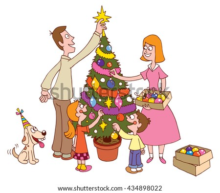 Family decorating Christmas tree together - stock vector
