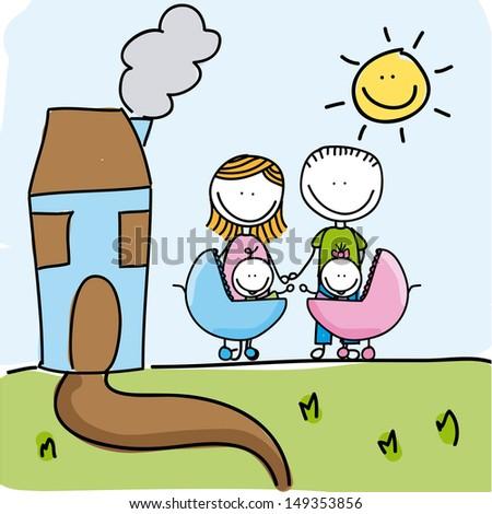 family design over landscape background vector illustration - stock vector