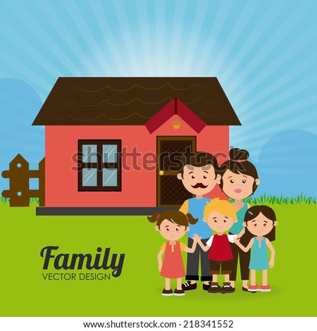 Family design over landscape background, vector illustration