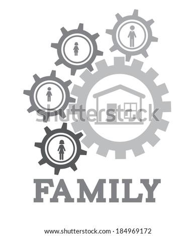 Family design over white background, vector illustration - stock vector