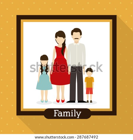 family  design over yellow background, vector illustration - stock vector