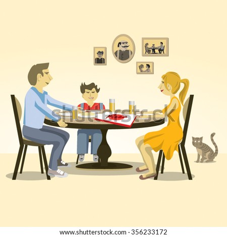 Family dinner with pizza / Vector illustration - stock vector