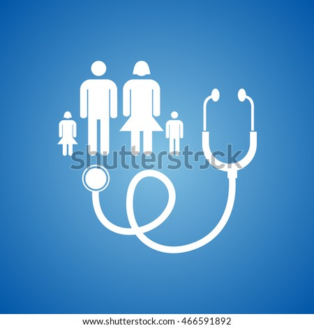 Family Doctor Icon on blue color.
