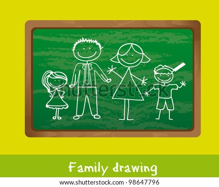 family drawing over chalkboard, background. vector illustration
