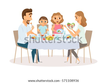 Family Eating Meal Around Kitchen Table. Happy Daddy, Mom And Their Two  Kids Sitting