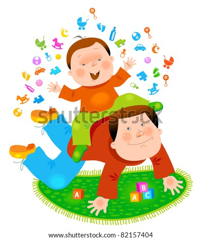 family entertainment with father plays with his son - stock vector