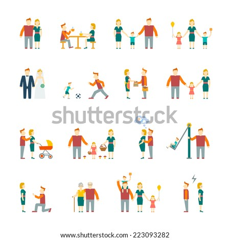 Family figures flat icons set of parents children married couple isolated vector illustration - stock vector