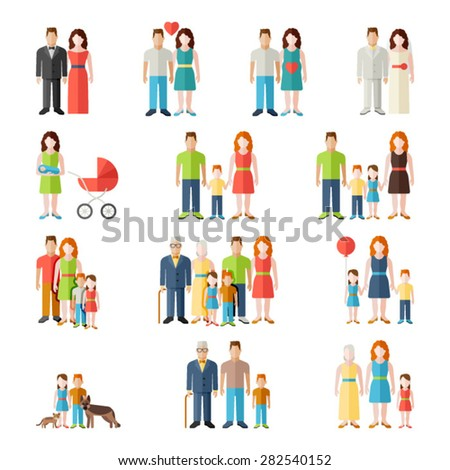 Family flat icons set with married couples parents and children isolated vector illustration - stock vector