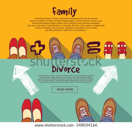 Family foots standing in line. Color vector illustration. EPS8  - stock vector