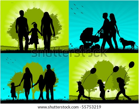 Family - four images - stock vector