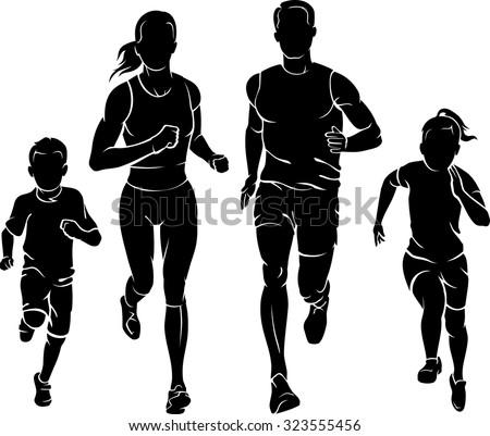Family Fun Run - stock vector