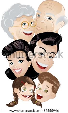 family generation cartoon - stock vector