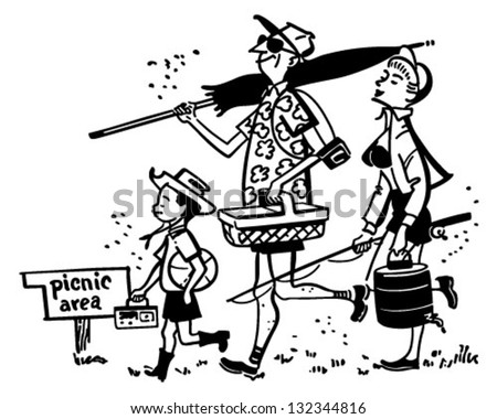 Family Going On A Picnic - Retro Clip Art Illustration - stock vector