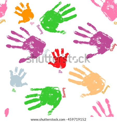 Family handprint seamless pattern. Colorful background with child, woman and man handprints. Vector illustration.