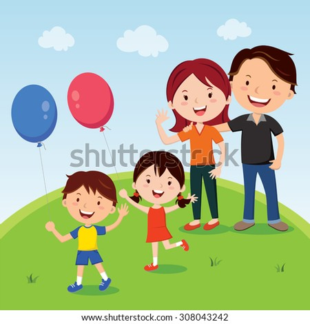 Family. Happy family outing, fun in the sunny day! - stock vector