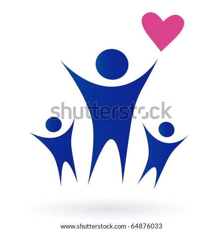 Family, Health and Community icon isolated on white. Vector Illustration.
