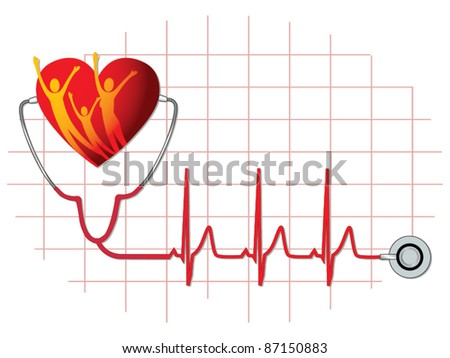 Family health care icon vector - stock vector