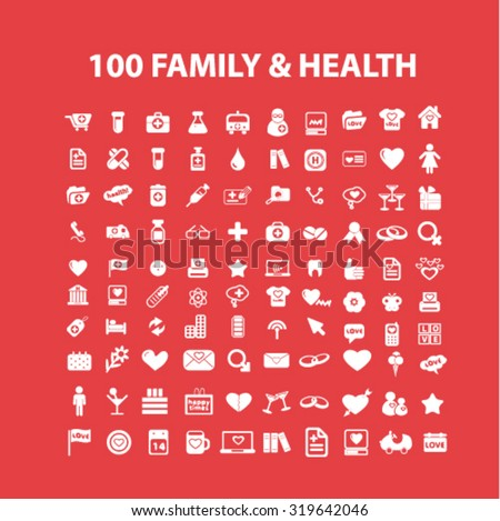 family, health care icons - stock vector