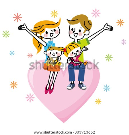 Family Heart - stock vector