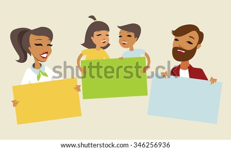 Family holding blank cards to place your text - stock vector