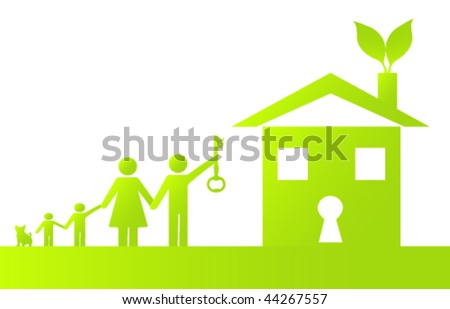 Family Holding the Key to Going Green - stock vector