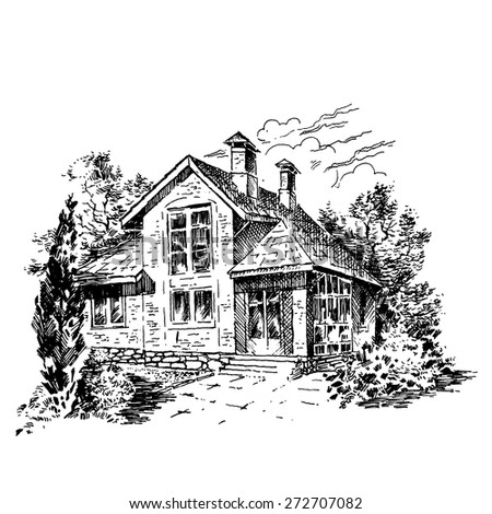Family Home Engraving - Illustration