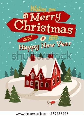 Family house. Merry Christmas illustration.  - stock vector