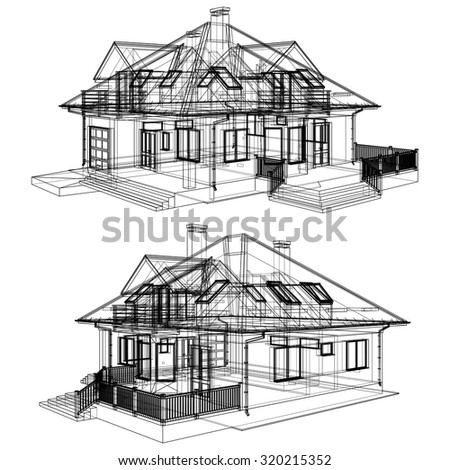 Family House Pespective With Hidden Line Vector 02 - stock vector