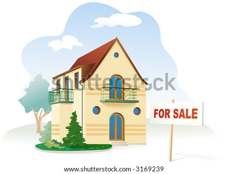 Family house with sign For sale. Realty. Vector illustration - stock vector