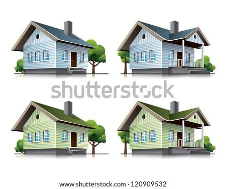 Family houses cartoon icons - stock vector