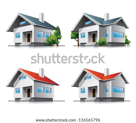 Family houses cartoon icons. EPS10 vector file. - stock vector